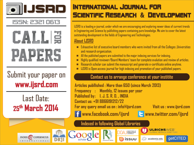 CALL For PAPERS VOLUME 2 ISSUE 1